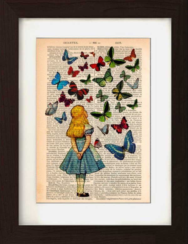 Alice Watching Butterflies on 1830s Encyclopaedia Page | Jam Art Factory