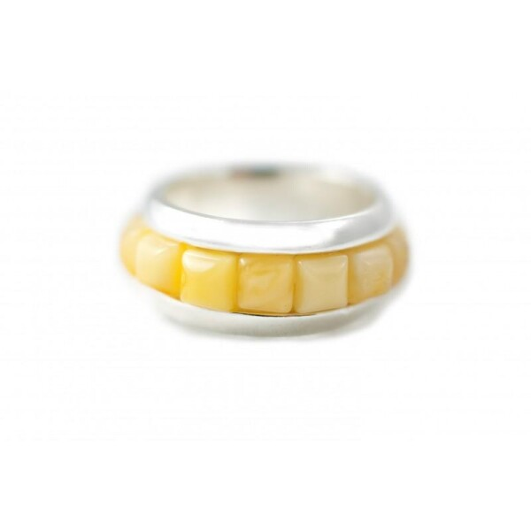 Silver ring with light amber