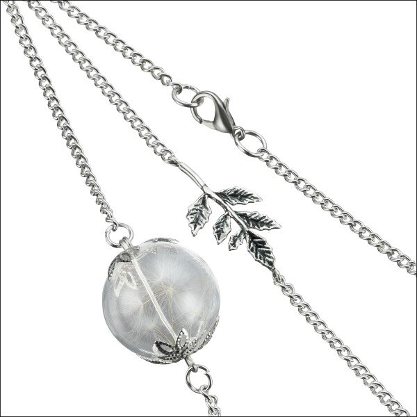 Real dandelion necklace with a silver leaf | Carol and Me