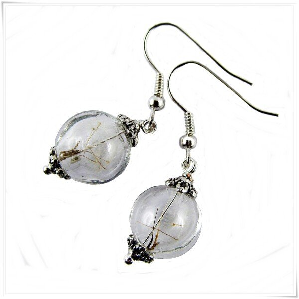 Real Dandelion Earrings  silver | Carol and Me