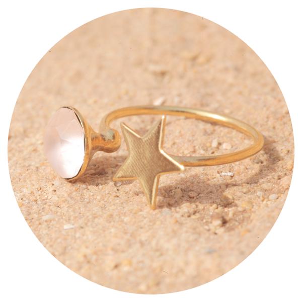 Artjany star ring vintage rose matt gold | artjany - Kunstjuwelen
