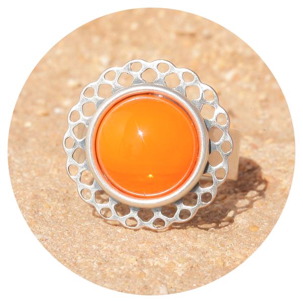 Artjany Mandala ring orange opal silver | artjany - Kunstjuwelen