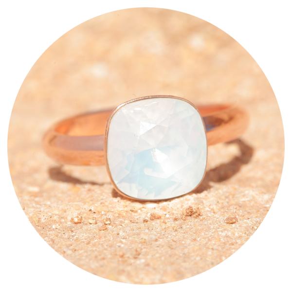 artjany ring white opal rose gold | artjany - Kunstjuwelen
