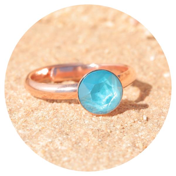 artjany ring azure blue rose gold | artjany - Kunstjuwelen