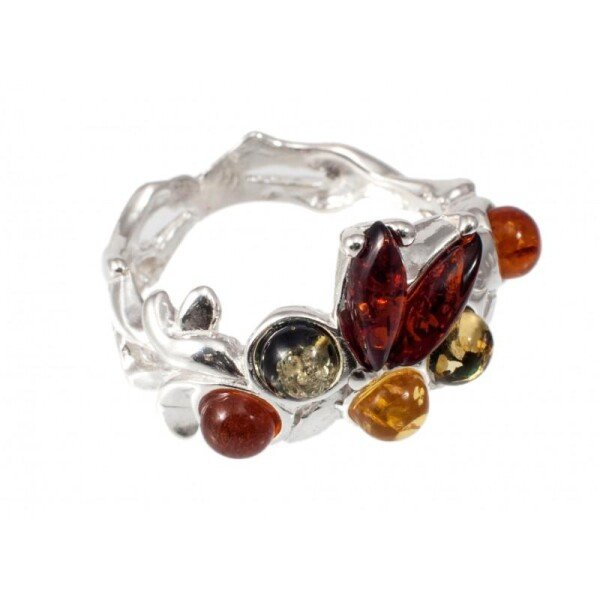 Silver - amber ring