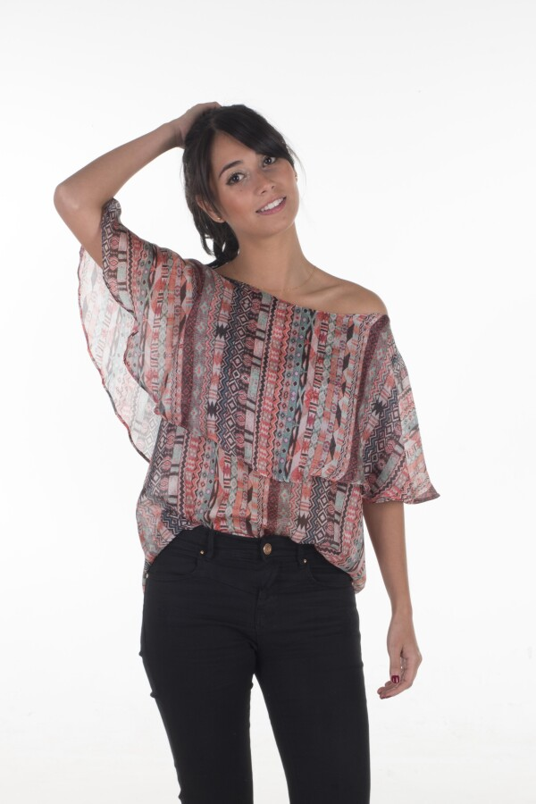 Flounce blouse 100% silk with a delicate ethnic pattern | Bizar_Cologne