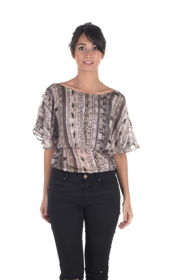 Volant Blouse 100% Silk with a Delicate Ethno Pattern - Olive Green - | Bizar_Cologne