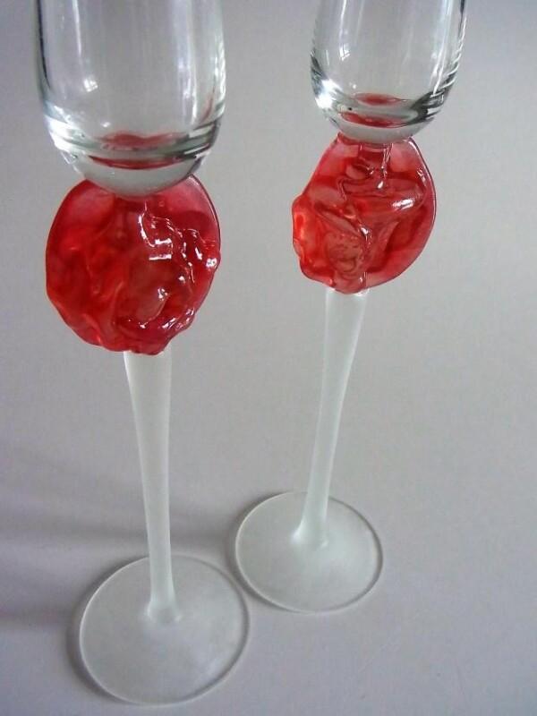 Sparkling Wine Glasses Rose Pink Set-2 | Design Elena