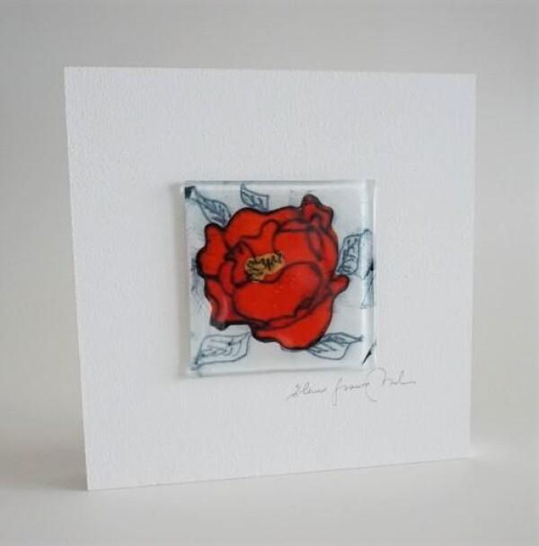 GlasBild Rote Rose 15x15 white | Design Elena