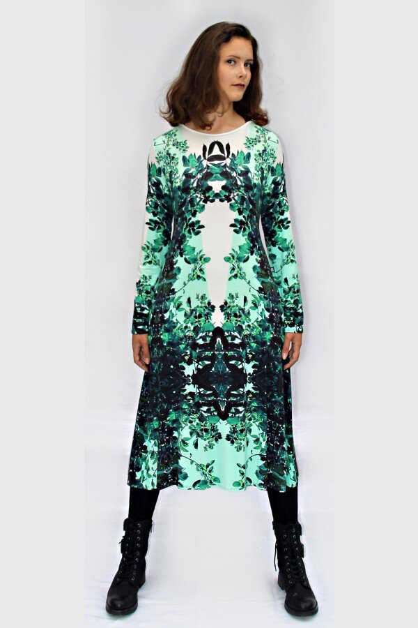 green and white jersey dress with own fabric print ROXANI_26   MOLOTOW