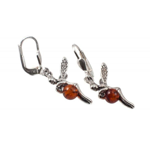 Silver earrings with amber