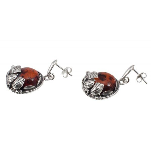 Silver earrings with cognac amber | BalticBuy