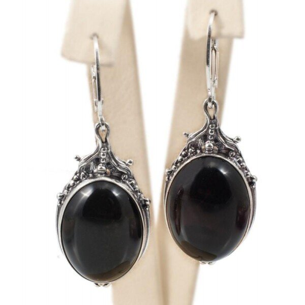 Silver earrings with dark amber | BalticBuy