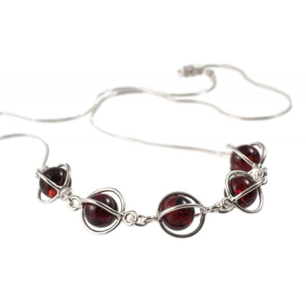 Silver necklace with cherry-color amber | BalticBuy