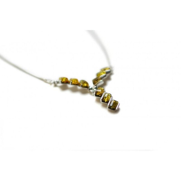Silver necklace with stylized amber pieces of greenish tones | BalticBuy