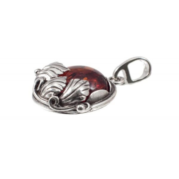 Silver pendant with cognac amber | BalticBuy