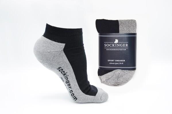 SOCKINGER SPORT SNEAKER in black / gray | Sockinger-Die Sockenmanufaktur
