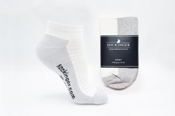 SOCKINGER SPORT SNEAKER in white / gray | Sockinger-Die Sockenmanufaktur