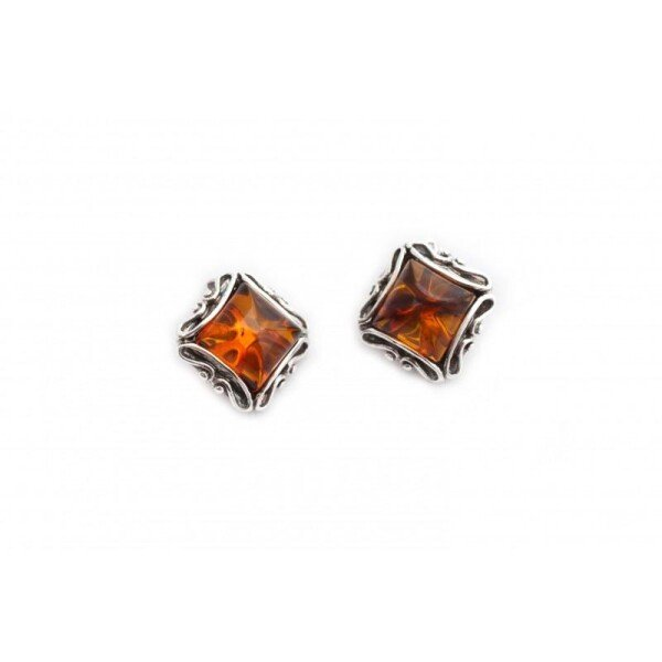 Square clips with clear cognac-colored amber | BalticBuy