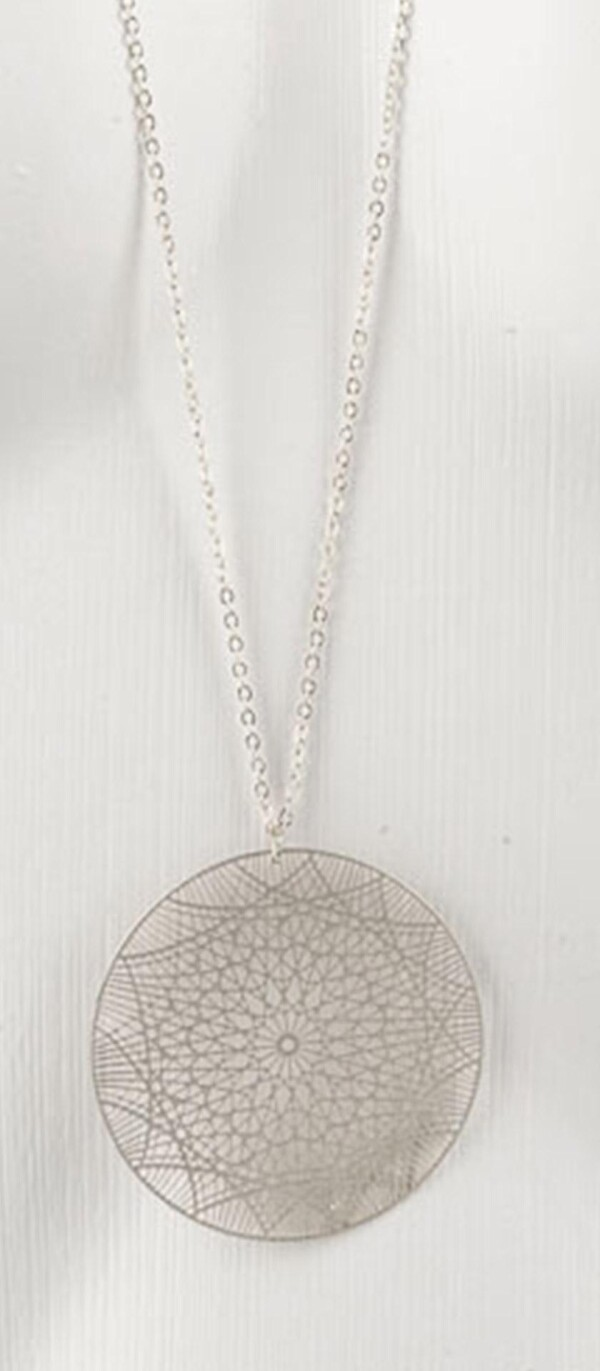 Long necklace with mandala 1 pendant silver plated   Perlenmarkt