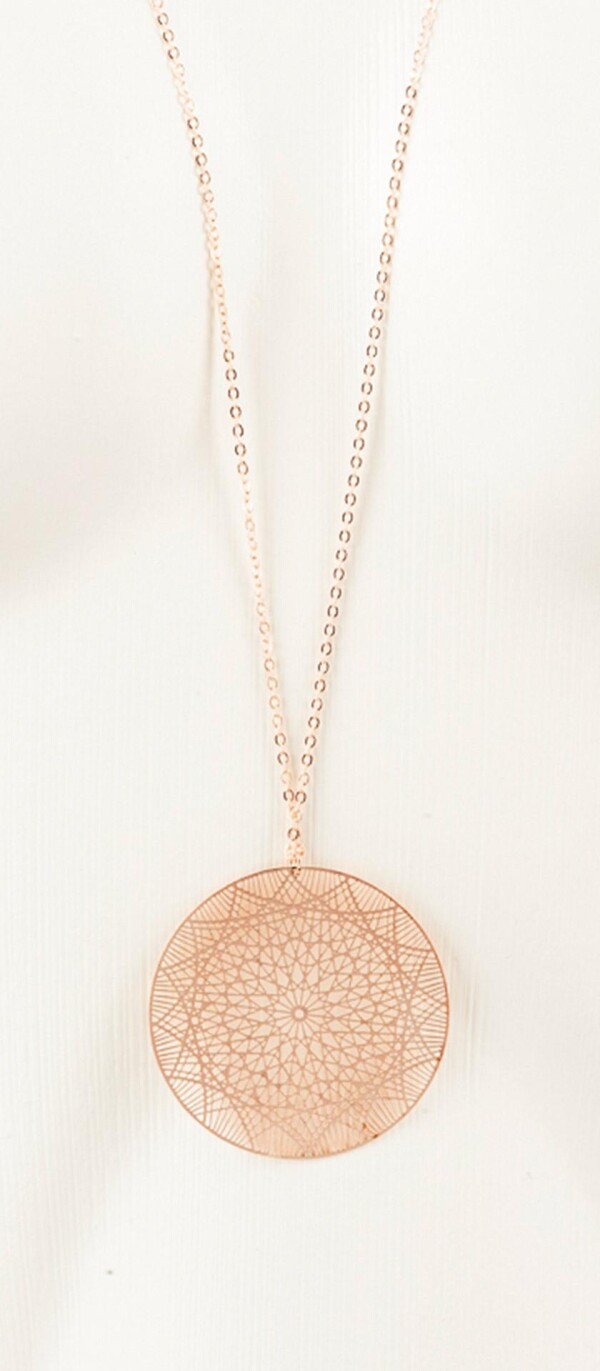 Long necklace with mandala 1 pendant rose gold plated | Perlenmarkt