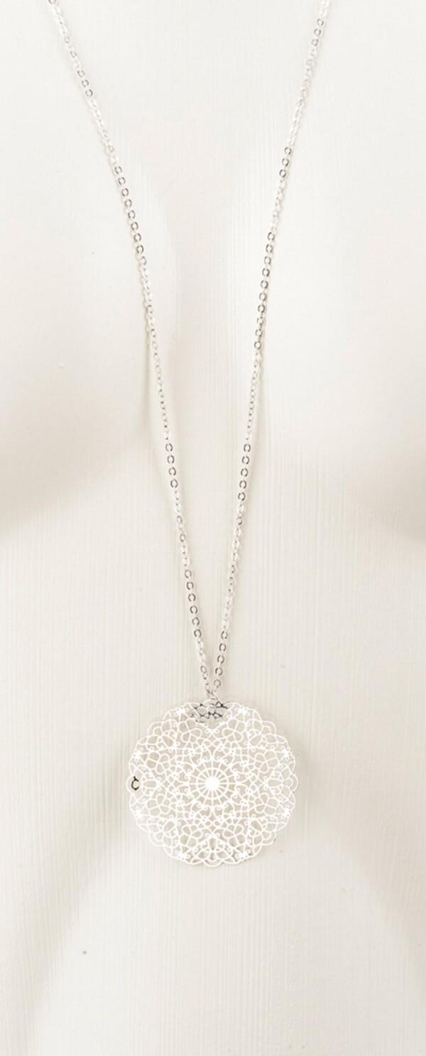 Long necklace with mandala 2 silvered pendants | Perlenmarkt