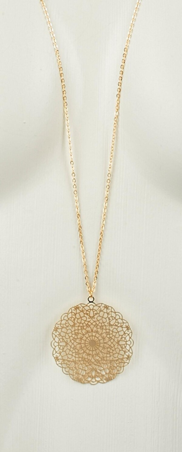 Long necklace with mandala 2 gold plated pendant   Perlenmarkt