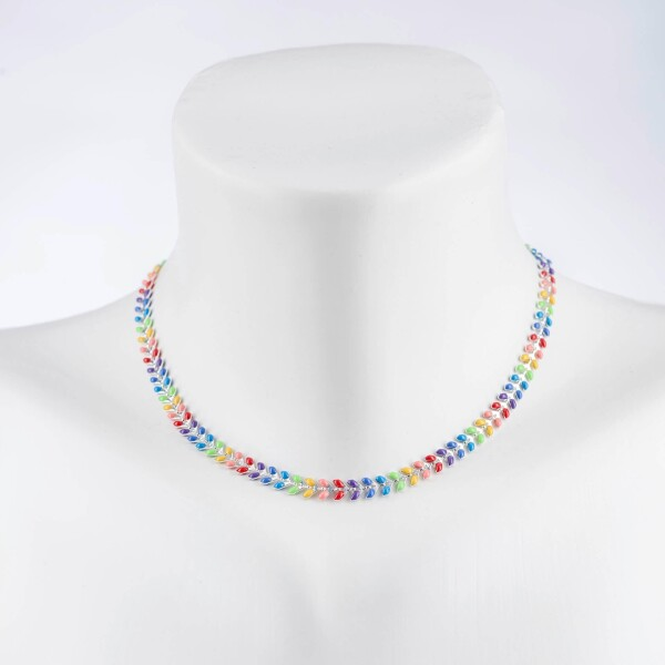 Short herringbone necklace multi silver plated | Perlenmarkt