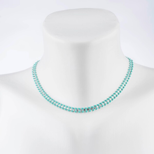 Short herringbone necklace turquoise silver plated   Perlenmarkt