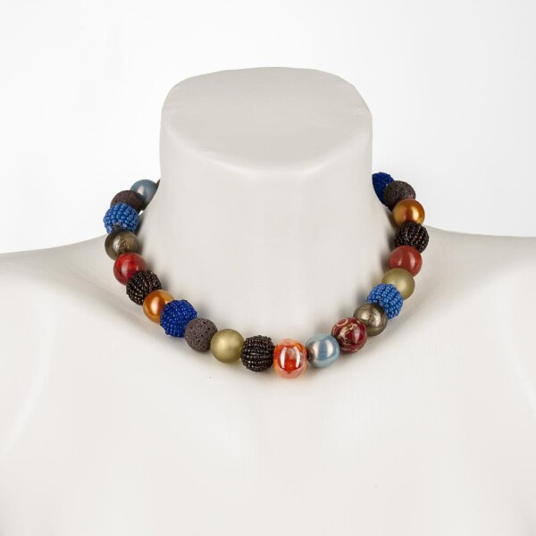 Short Pearl Necklace New Bowls Colorful autumn mix made of a fine mix of materials | Perlenmarkt