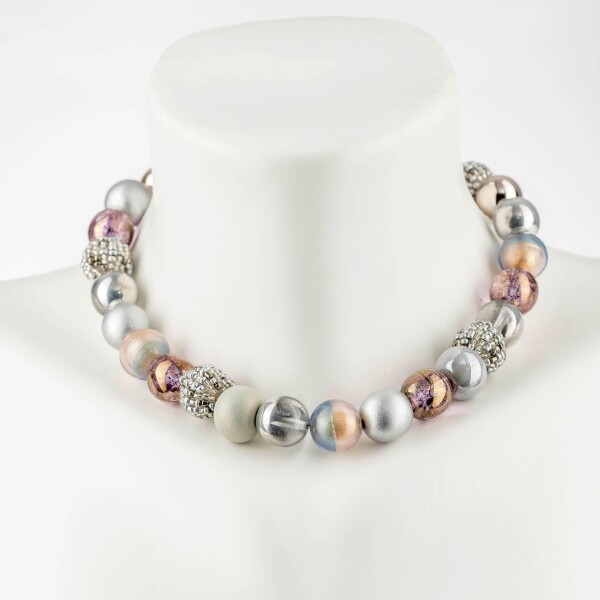 Short pearl necklace New Bowls Space-Art made of a fine material mix   Perlenmarkt