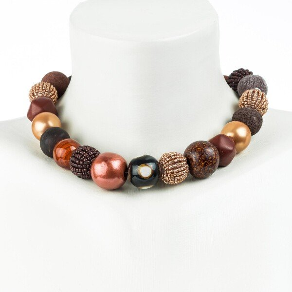Short pearl necklace Bollywood summer brown made of a fine material mix | Perlenmarkt