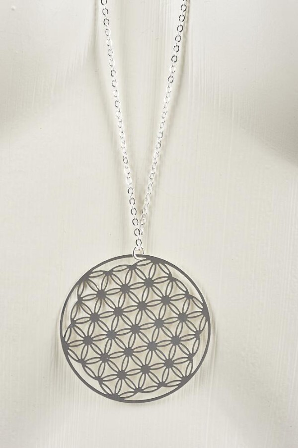 Long necklace with flower of life motive silver plated | Perlenmarkt