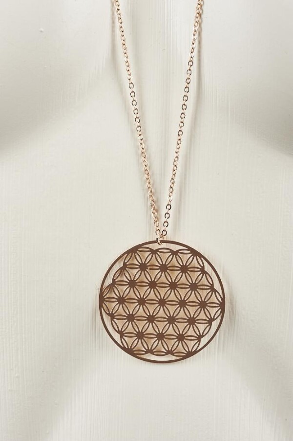 Long necklace with flower of life motive rose gold plated | Perlenmarkt