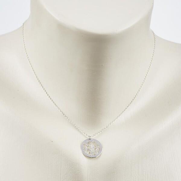 Short necklace with tree motif silvered   Perlenmarkt