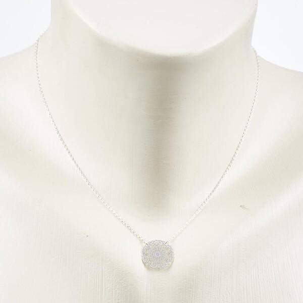 Short necklace with mandala 2 motive silver plated   Perlenmarkt