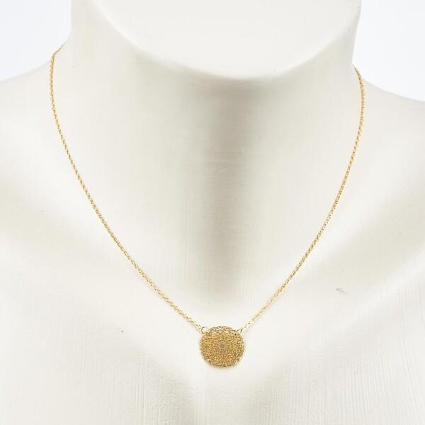 Short necklace with mandala 2 motif gold plated | Perlenmarkt