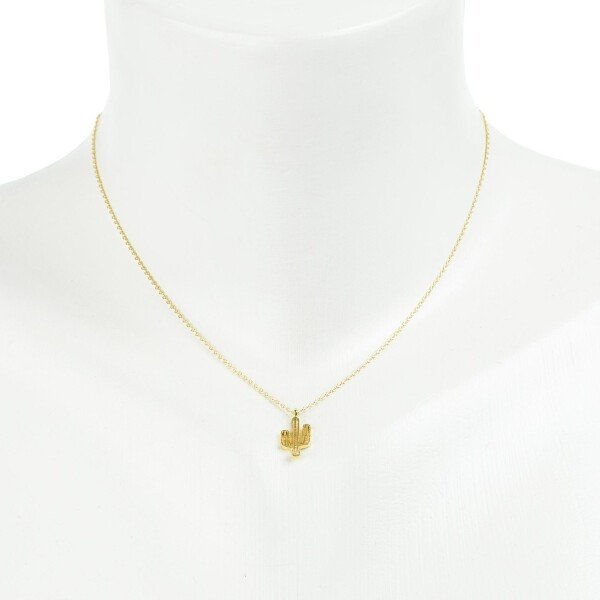 Short necklace with cactus pendant gold plated | Perlenmarkt