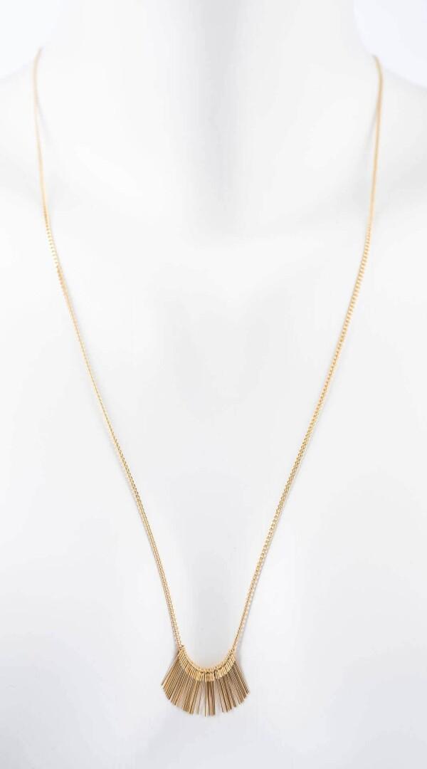 Long chain gilded with needles pendant | Perlenmarkt