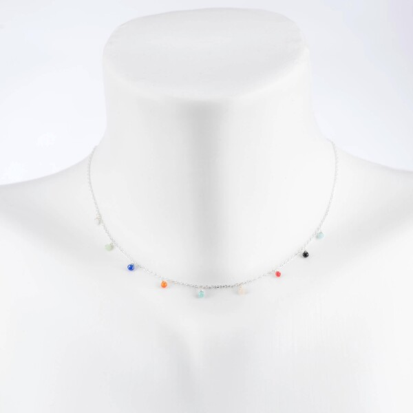 Short necklace with colorful crystal pendants silver plated   Perlenmarkt