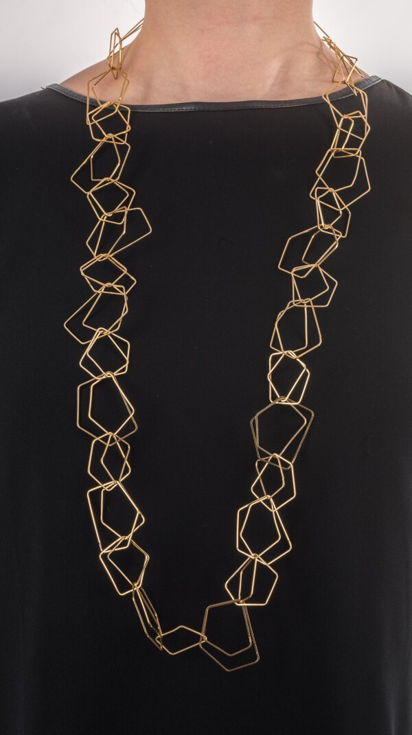 Long charm chain link chain 110cm double polygon gold plated   Perlenmarkt