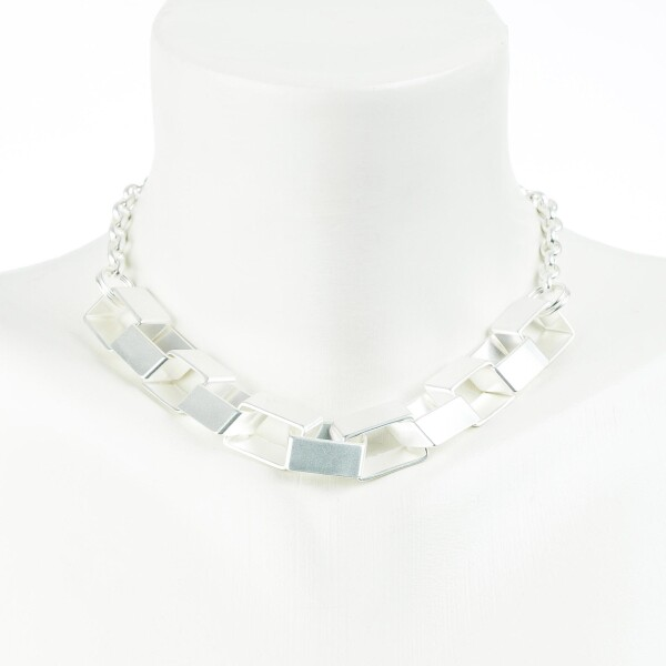 Short Charm Chain Box Chain with large boxy links 42cm silver plated | Perlenmarkt