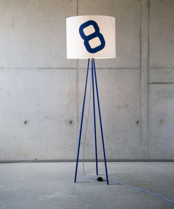 Maritime floor lamp home port 130cm blue from sail with textile cable | lumbono