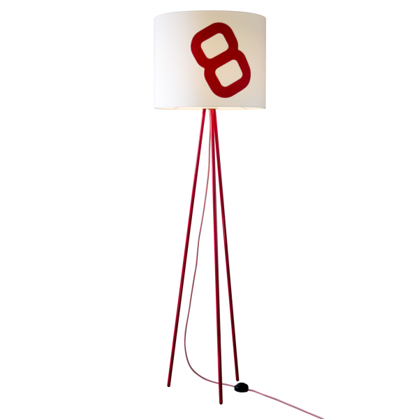 Maritime floor lamp home port 130cm Red sail with textile cable | lumbono