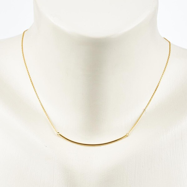 Short necklace with curved bar sterling silver plated | Perlenmarkt