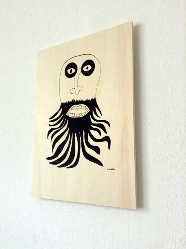 Ray Moore - Beardy - silkscreen print on poplar plywood | SITFLIP