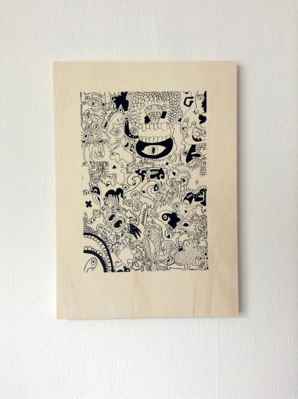 Ray Moore - Scribble Silkscreen print on poplar plywood | SITFLIP