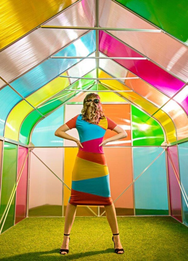 colorblocking stretch dress Emilia   kirsch-grün