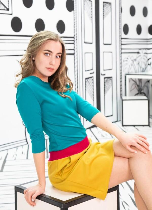 colorblocking pocket dress Juna | kirsch-grün
