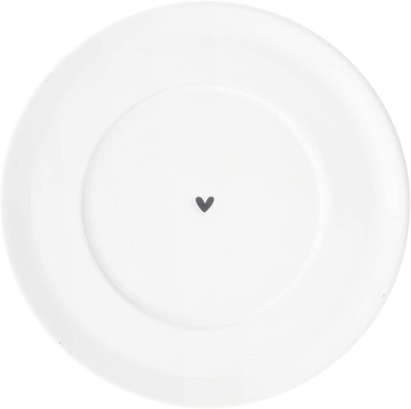 Bastion Collections saucer 15 cm tall white with a black heart | Ambiente lifestyle & deko